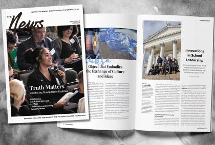 Cover and featured spread of the Fulbright Finland News Magazine 1/19
