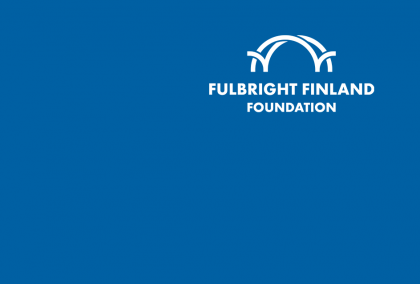 Blue background with white Fulbright Finland Foundation logo on the upper right hand corner