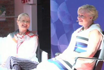 Fulbright Finland Foundation CEO and the Chair of the Foundation's Board of Directors Piia Björn smilingly discussing at SuomiAreena.