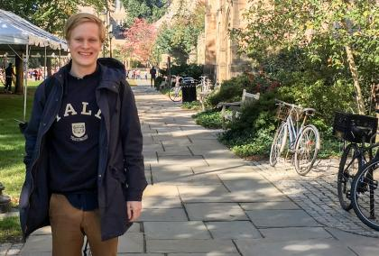 Fulbright Finland alum Tuomas Lihr on Yale campus on a sunny fall day