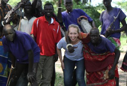Johanna Poutanen on a field visit to a cattle camp in Rumbek, South Sudan.