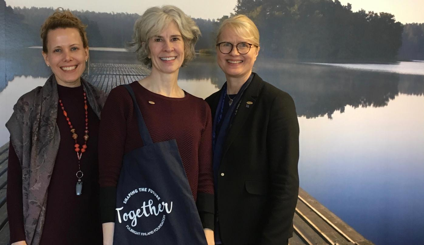 Fulbright Finland 2018-2019 Inter-Country Travel Grantee Lorrie Heagy with Mirka McIntire and Terhi Mölsä