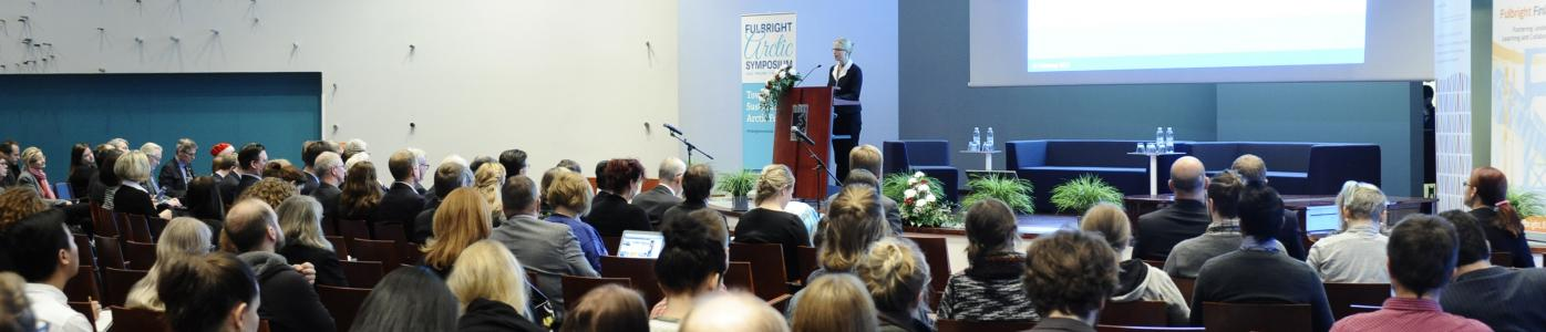 Wide shot of the audience of the 2016 Fulbright Arctic Symposium at the University of Oulu