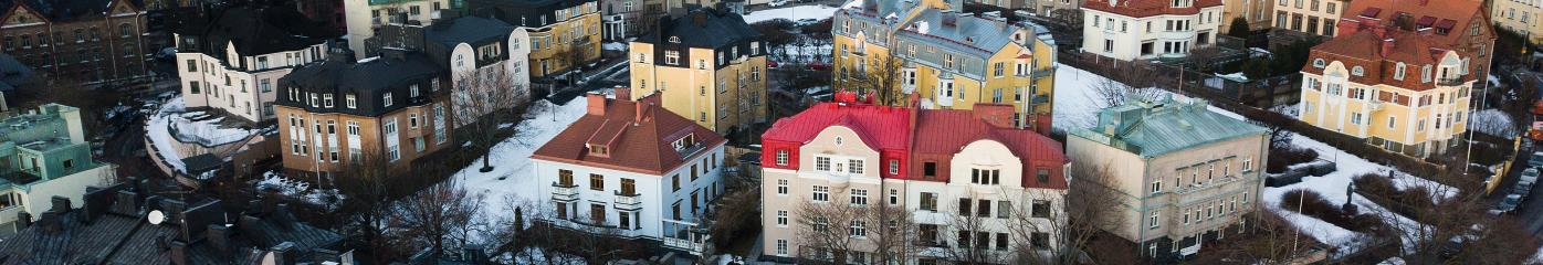 Aerial view of houses in Eira part of Helsinki
