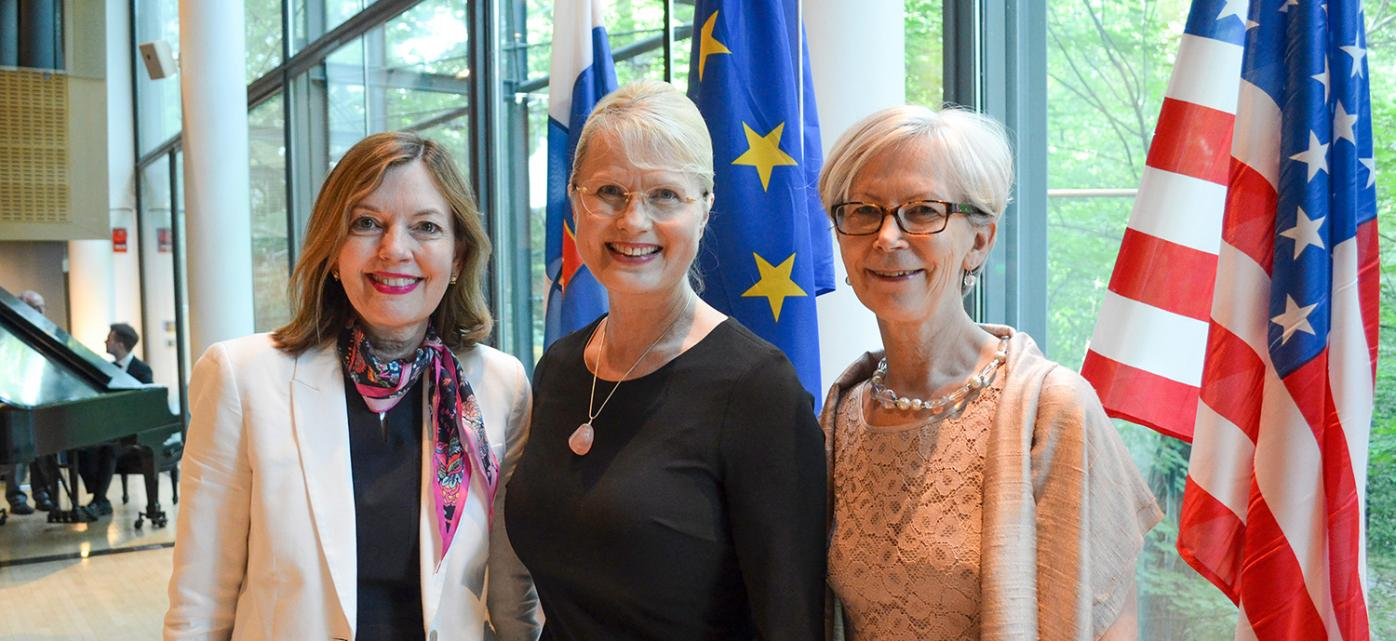 Assistant Secretary of State Marie Royce, Fulbright Finland Foundation CEO Terhi Mölsä and Ambassador Kirsti Kauppi