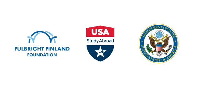 Logos on the Fulbright Finland Foundation, USAStudyAbroad and U.S.  Department of State