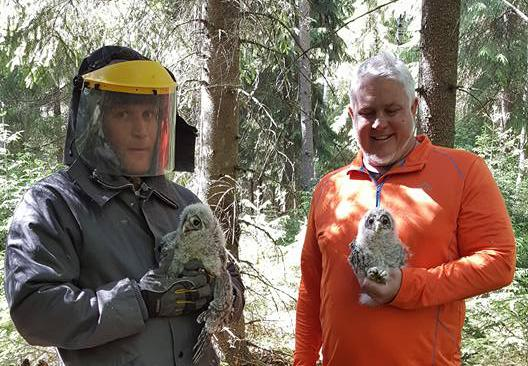 Nate Bickford and his colleague in a forest. Both men are holding an owl.