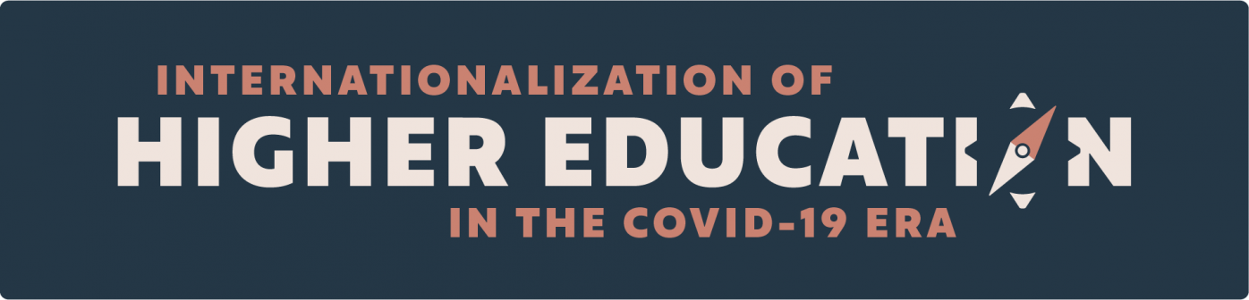 "Logo for the webinar series ""Internationalization of Higher Education in the COVID-19 Era"" on a dark background. The logo consists of the name of the series with the ""o"" in the word education being a compass."