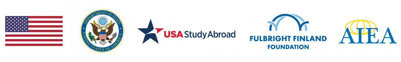 U.S. flag, U.S. State Department Seal, USA StudyAbroad logo, Fulbright Finland Foundation logo and AIEA logo