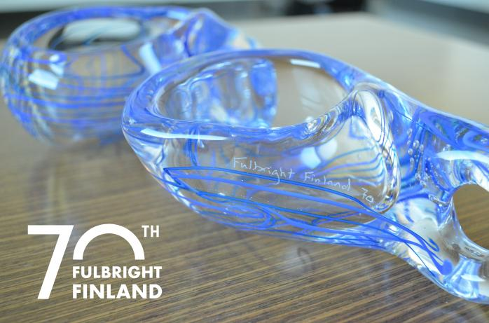 Glass Kuksa created by Jonathan Capps to celebrate the Fulbright Finland Foundation milestones