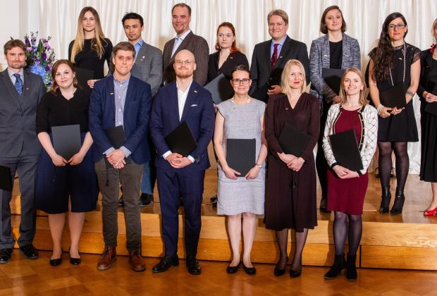 Fulbright scholar grantees to the U.S. 2019-2020 in the Fulbright Finland Award Ceremony.