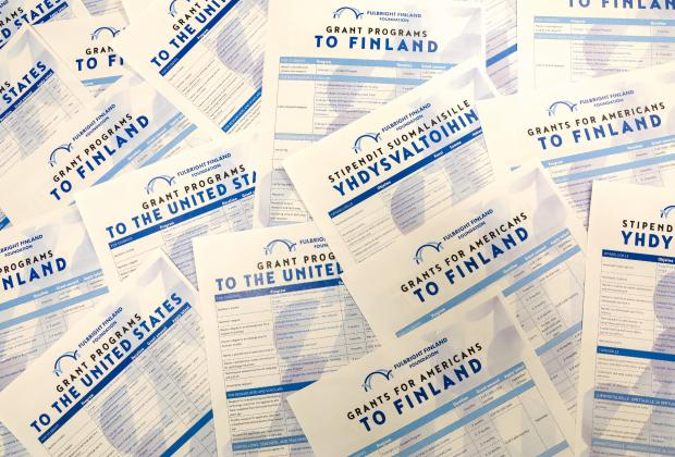 Picture of the Fulbright Finland Foundation Grant leaflets