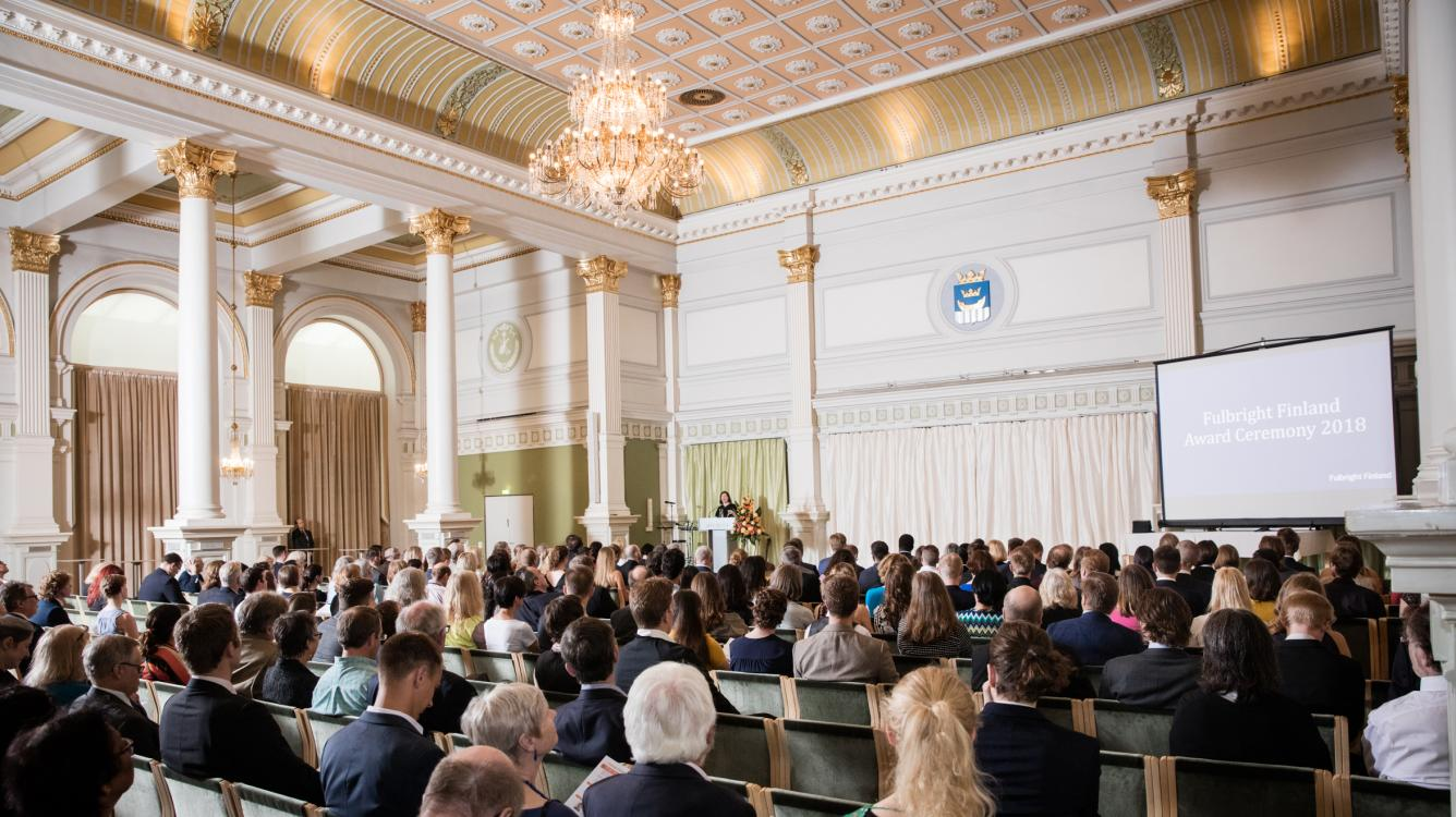 Photo of the audience of the 2018 Fulbright Finland Award Ceremony at the Helsinki City Hall