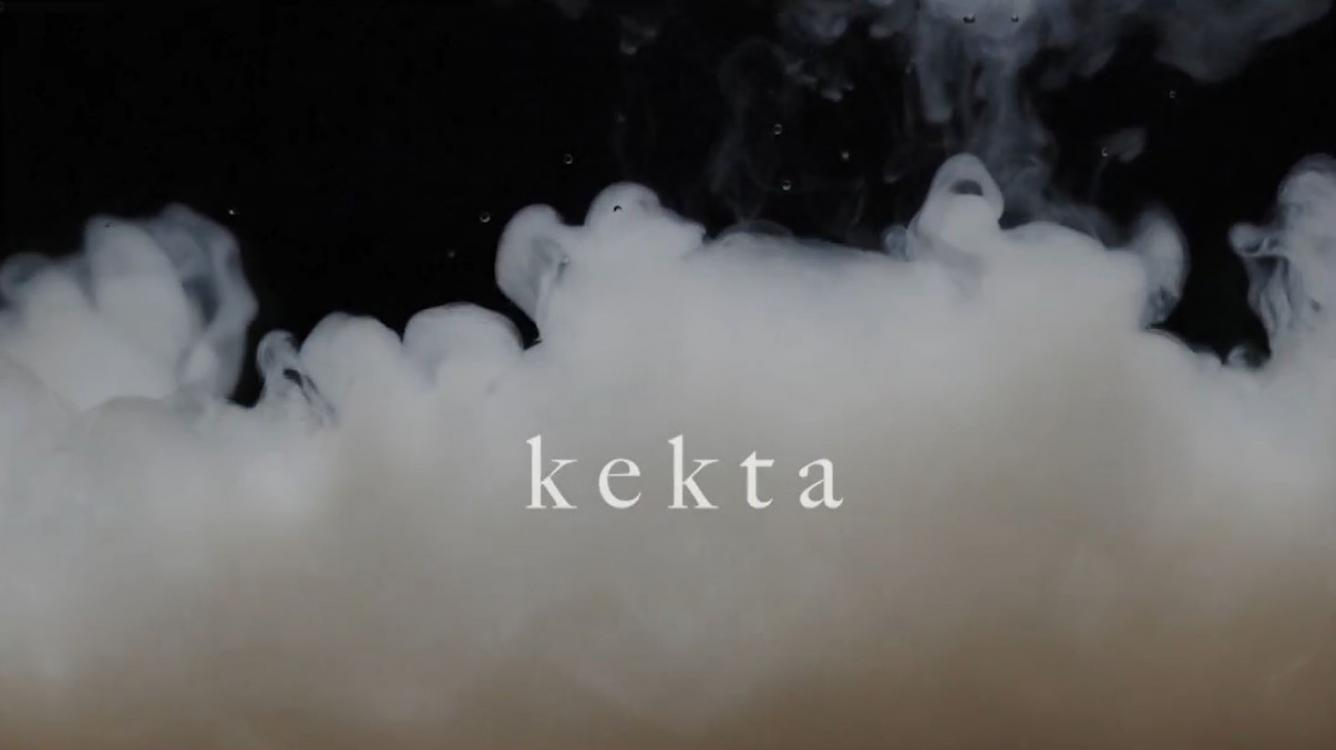 Title image of Lotta Lemetti's video project Kekta. White smoke over a black background with the word kekta written in white over the smoke.