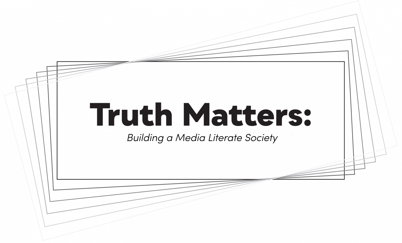 Logo of the Truth Matters: Building a Media Literate society. The logo consists of white rectangles with their frames fading from black to light gray and the name of the seminar is in the middle.