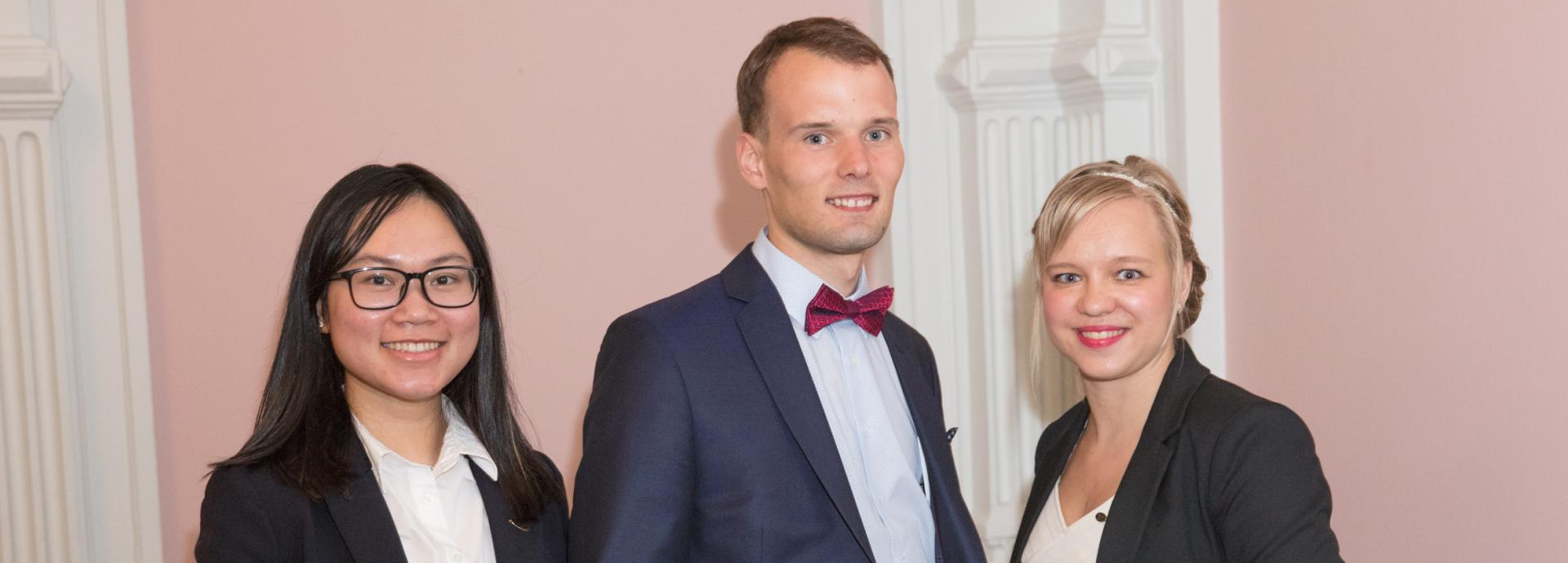 Three Fulbright Finland Foundation interns at the Award Ceremony 2018