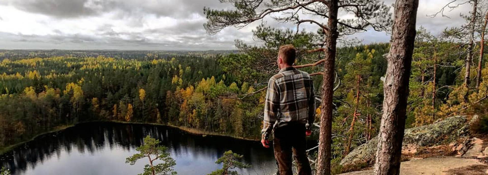 U.S. Fulbright Student Andrew House in the Finnish forest