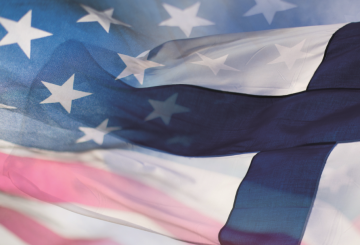 American and Finnish flags