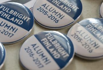Picture on pins in an alumni event